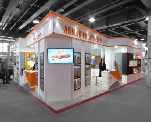 98-09-غرفه سازی نمایشگاه مواد غذایی تهران-طراحی غرفه و ساخت غرفه - غرفه سازی نمایشگاهی چیپس آرمک